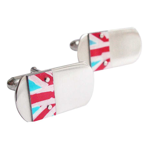 Sterling silver cufflinks with aluminium red white and blue union flag motif