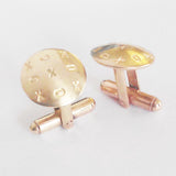 Hand made contemporary XOX motif Brass cufflinks