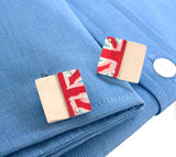 Union Flag aluminum and sterling silver Cufflinks by Sally Lees