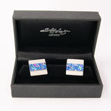 Blue and Pink 1950's inspired silver and aluminium Cufflinks