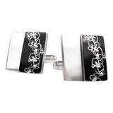 Black orchids print silver and aluminum cufflinks