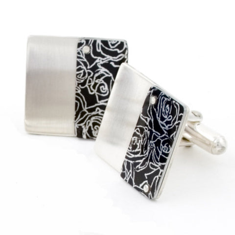 Sally Lees sterling silver cufflinks with black roses print on black aluminum