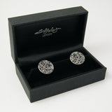 hand made aluminum and silver Black Roses contemporary Cufflinks by designer Jeweller Sally Lees
