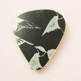 Black aluminium swallow bird guitar pick plectrum by Sally Lees