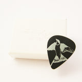 Black Swallow Aluminium Bird Guitar Pick Plectrum by Sally Lees
