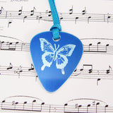 hand made aluminum blue butterfly Guitar Pick Pendant by Sally Lees