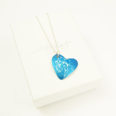 Blue Iris aluminium birth flower pendant by Sally Lees