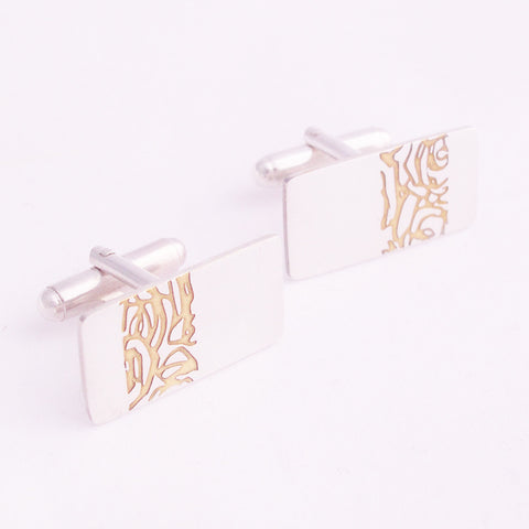 Silver and Gold Etched Roses Cufflinks