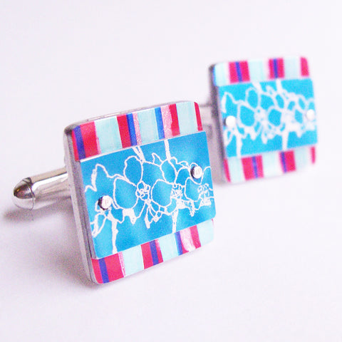 Blue and red pinstripe and blue orchids cufflinks