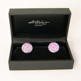 Pink Aster print silver and aluminium Cufflinks by Sally Lees
