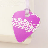hand made aluminum Pink Musical Notes Guitar Pick Pendant by Sally Lees