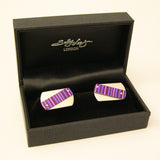 Hand made stering Silver and aluminium Purple Pin Stripe Cufflinks