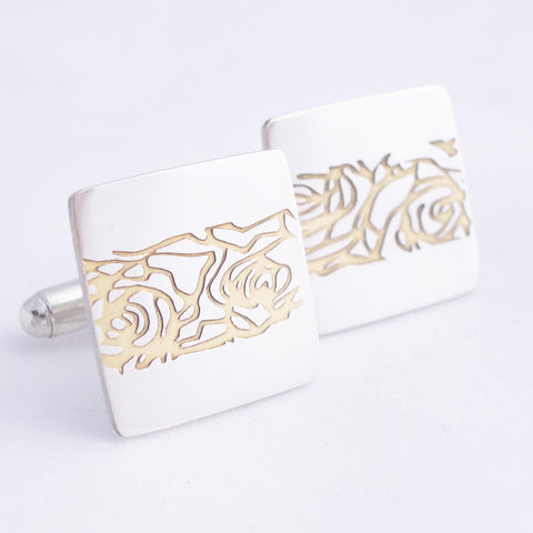 Sterling silver square cufflinks with central abstrcted roses etch filled with gold