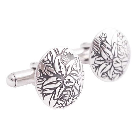 Sterling silver designer cufflinks decorated with black tigerlilies drawing