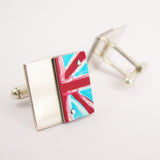 Red white and blue union flag aluminum and sterling silver cufflinks