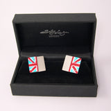 Red white and blue aluminum and sterling silver cufflinks by Sally Lees