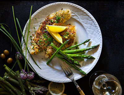 Rosti-Crusted Fish with Lemon and Green Olives