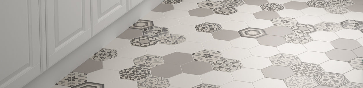 Baked Tiles Hexagon Random - Hexagonal Decorative Tiles