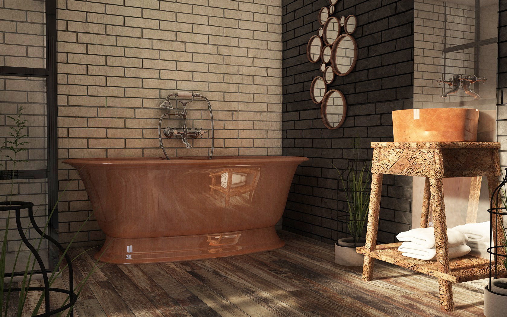 Industrial Bathroom with Copper Bath