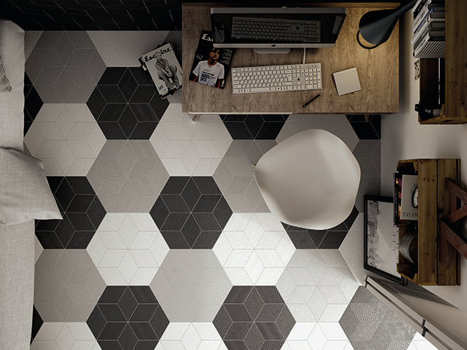 Trendy Geometric Black & White Floor Tiles
