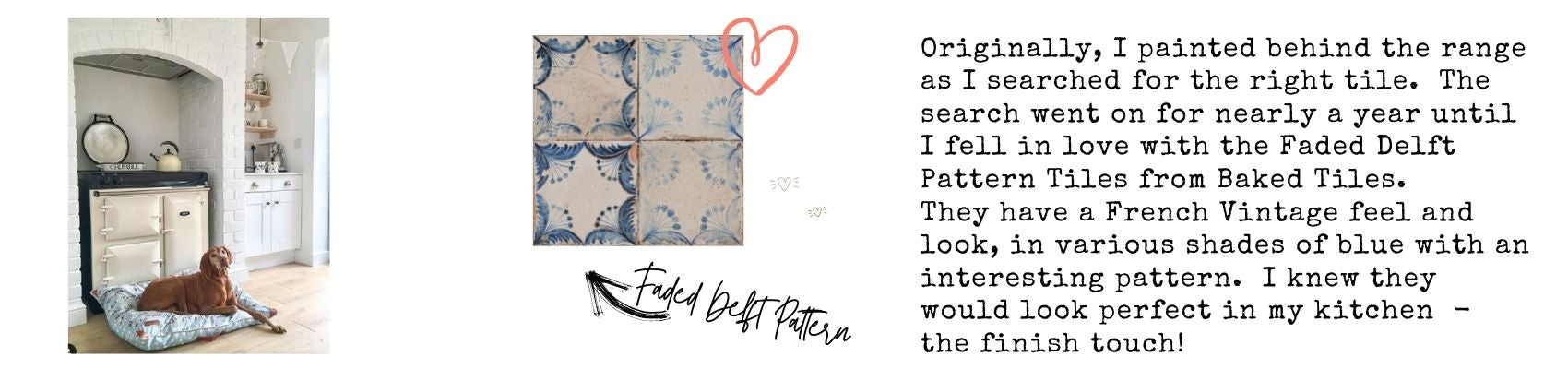 Faded Delft Pattern tile - The Baked Tile Co.
