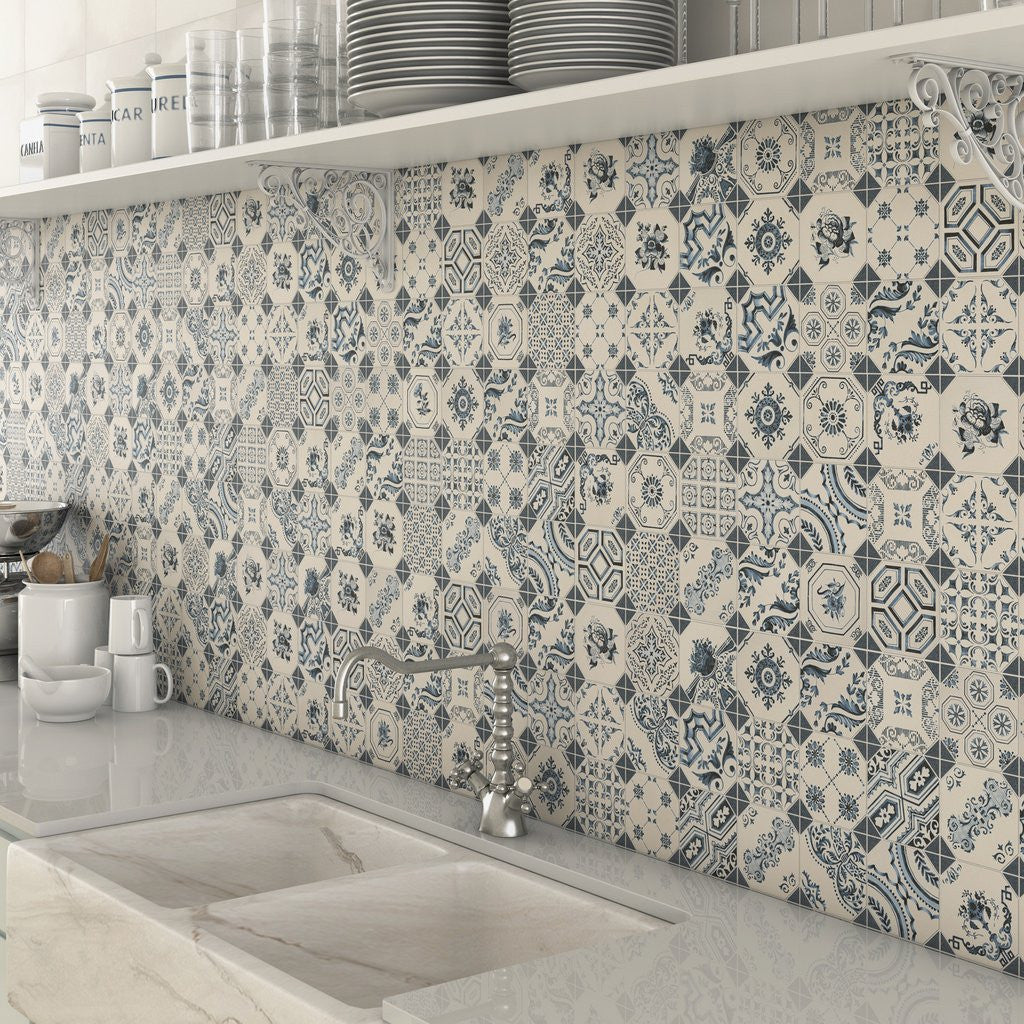 Blue & White kitchen splashback mosaic tiles