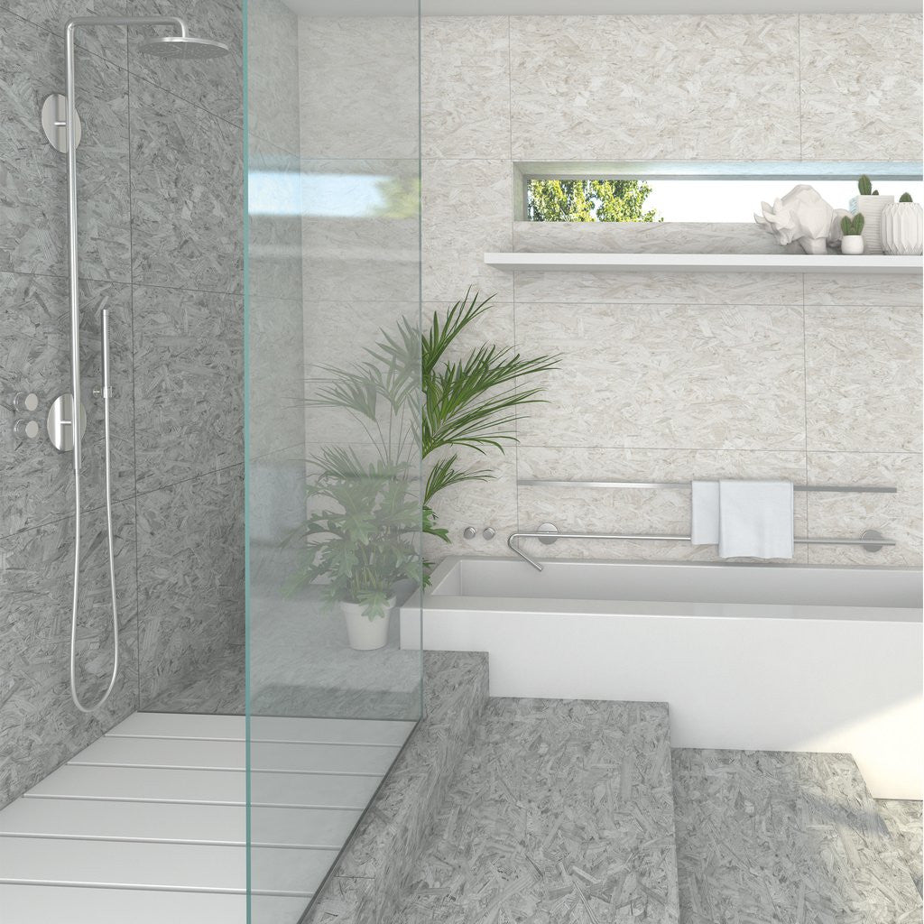 Chipboard effect bathroom tiles