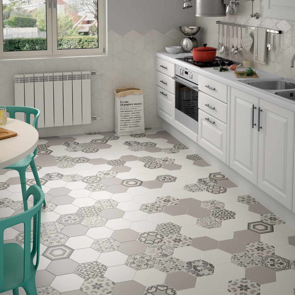 Unusual hexagon pattern effect kitchen floor tiles