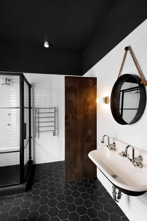 Hexagon Bathroom Tiles in Black