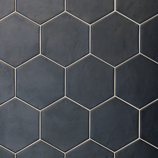 Close up of Black Hexagon Bathroom Tile