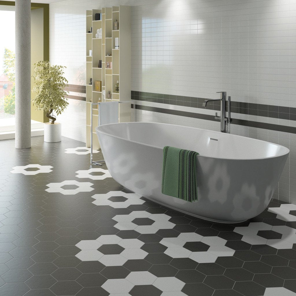 Hexagon Effect bathroom floor tiles