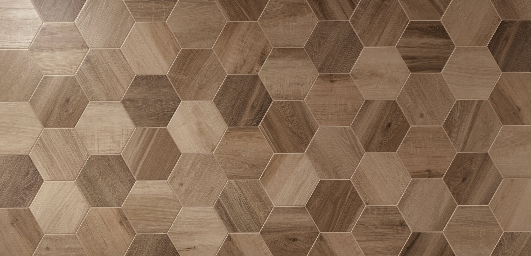 Baked Tiles Hexagon Wood Range Geometric Wood Tiles