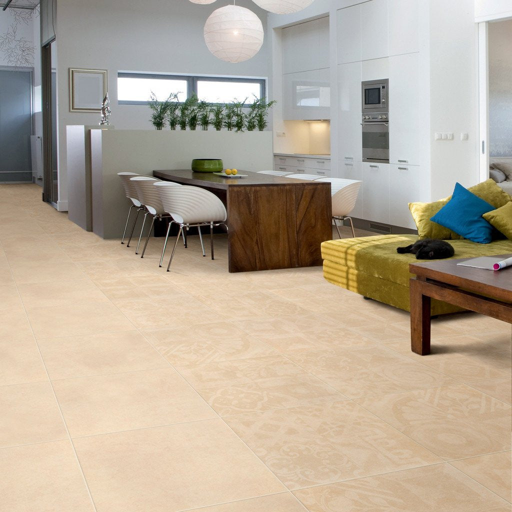 Unusual pattern effect kitchen floor tiles