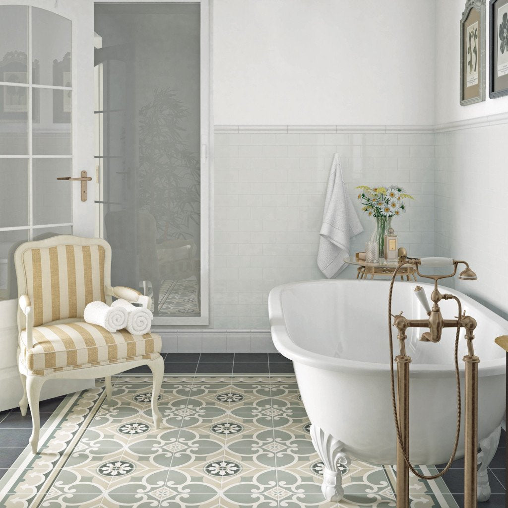 Victorian Patterned Bathroom Floor Tiles The Baked Tile Company Way