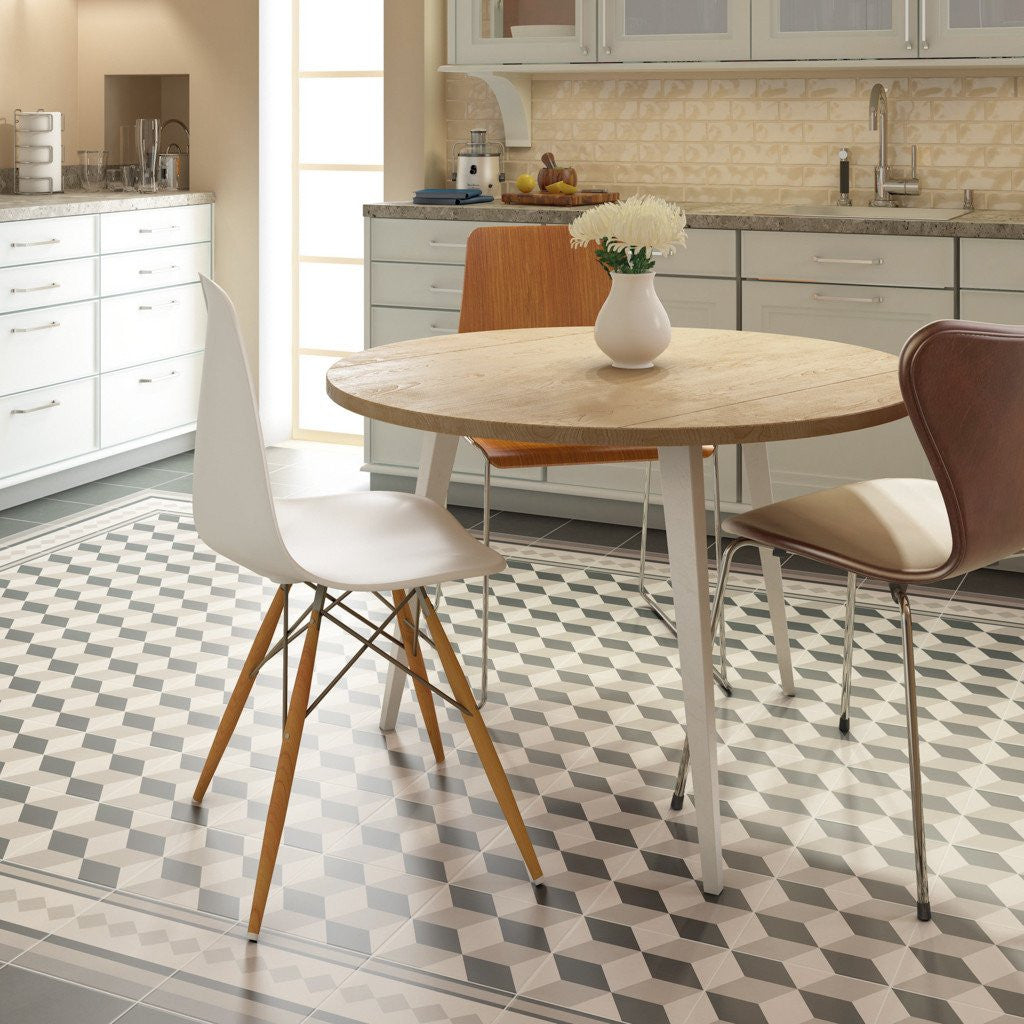 Unusual Retro pattern effect kitchen floor tiles