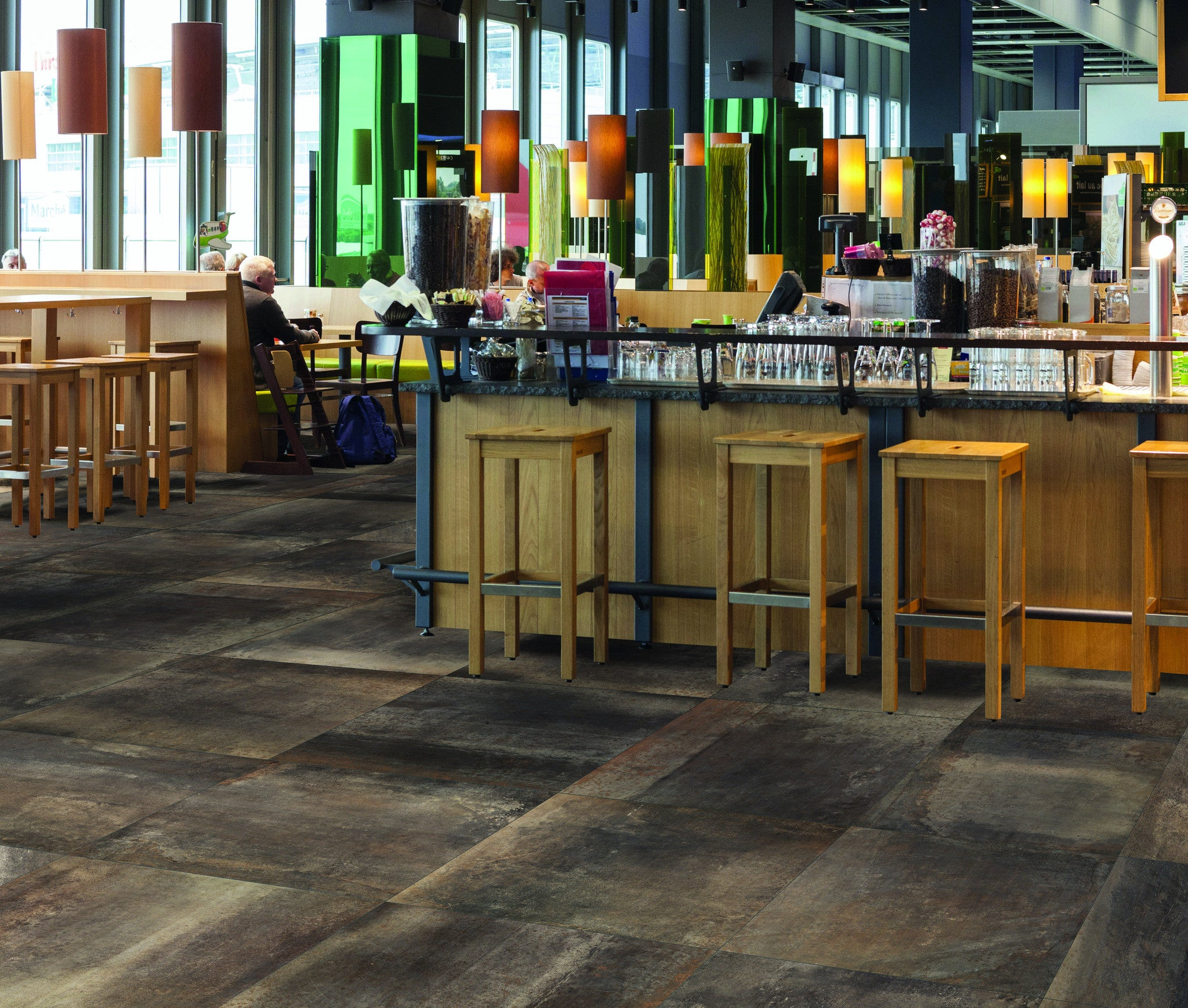 Creative modern floor wall tiles for cafes bars for Commercial bar flooring