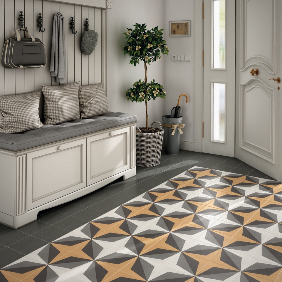 Modern but Traditional take on Patterned Floor Tiles
