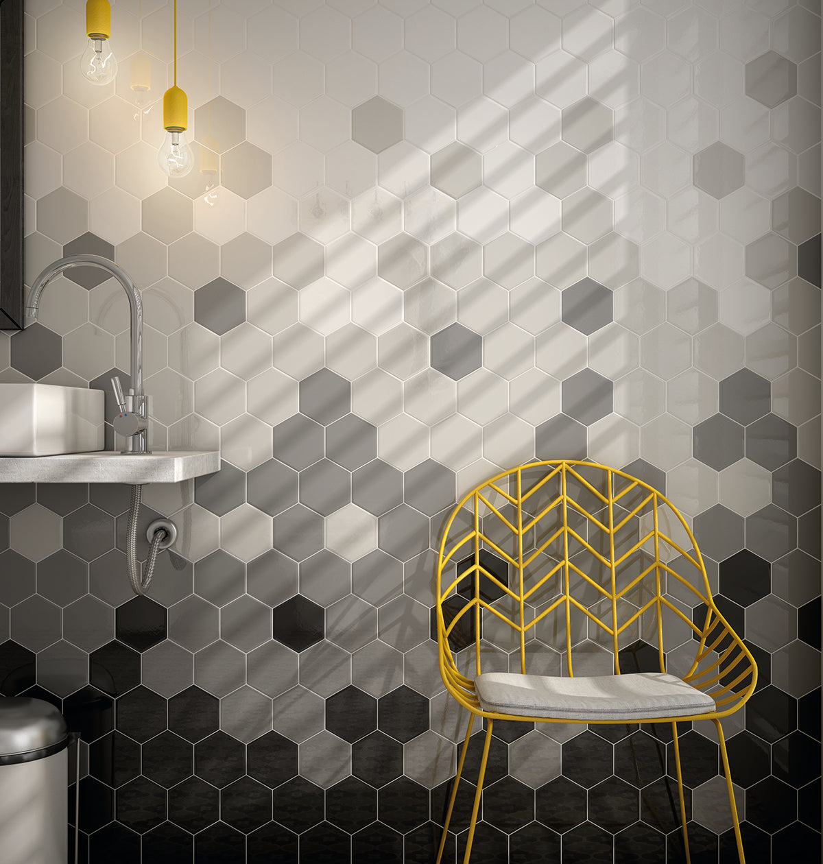 Black and White Geometric Bathroom Tiles