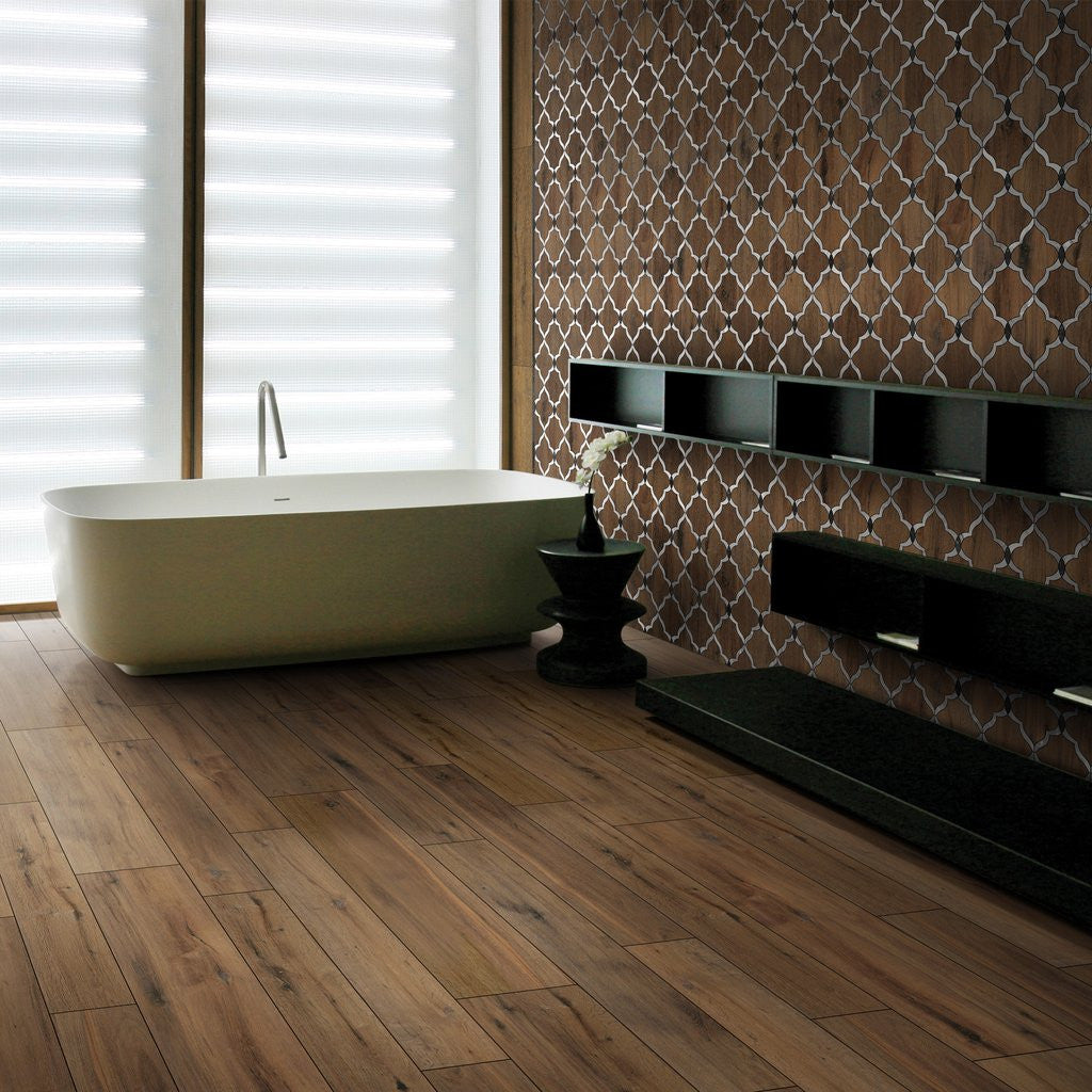 Contemporary wooden effect bathroom tiles
