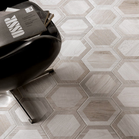 Hexagon Wood, Retro Silver