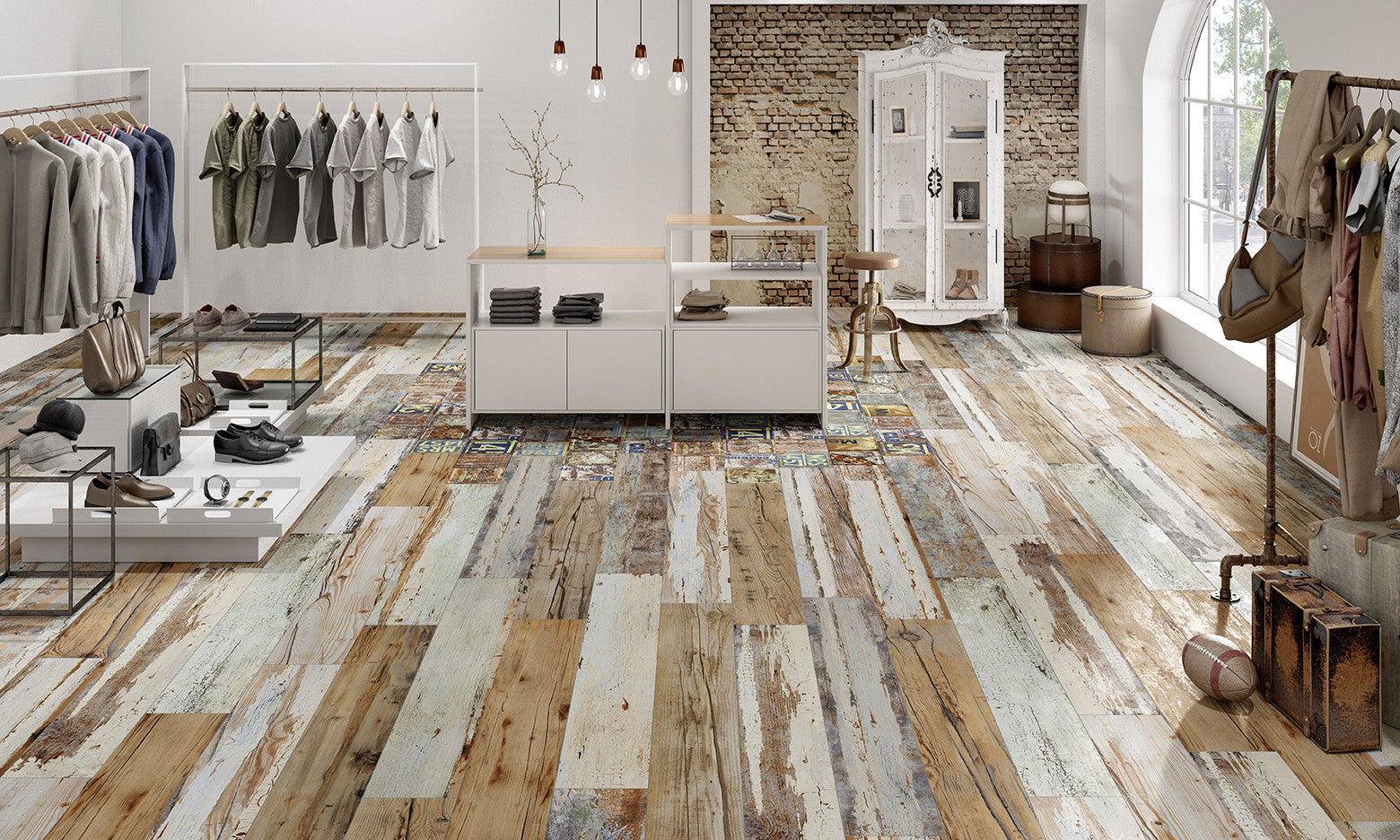 Salvage Wood Retail Shop Floor Tiles