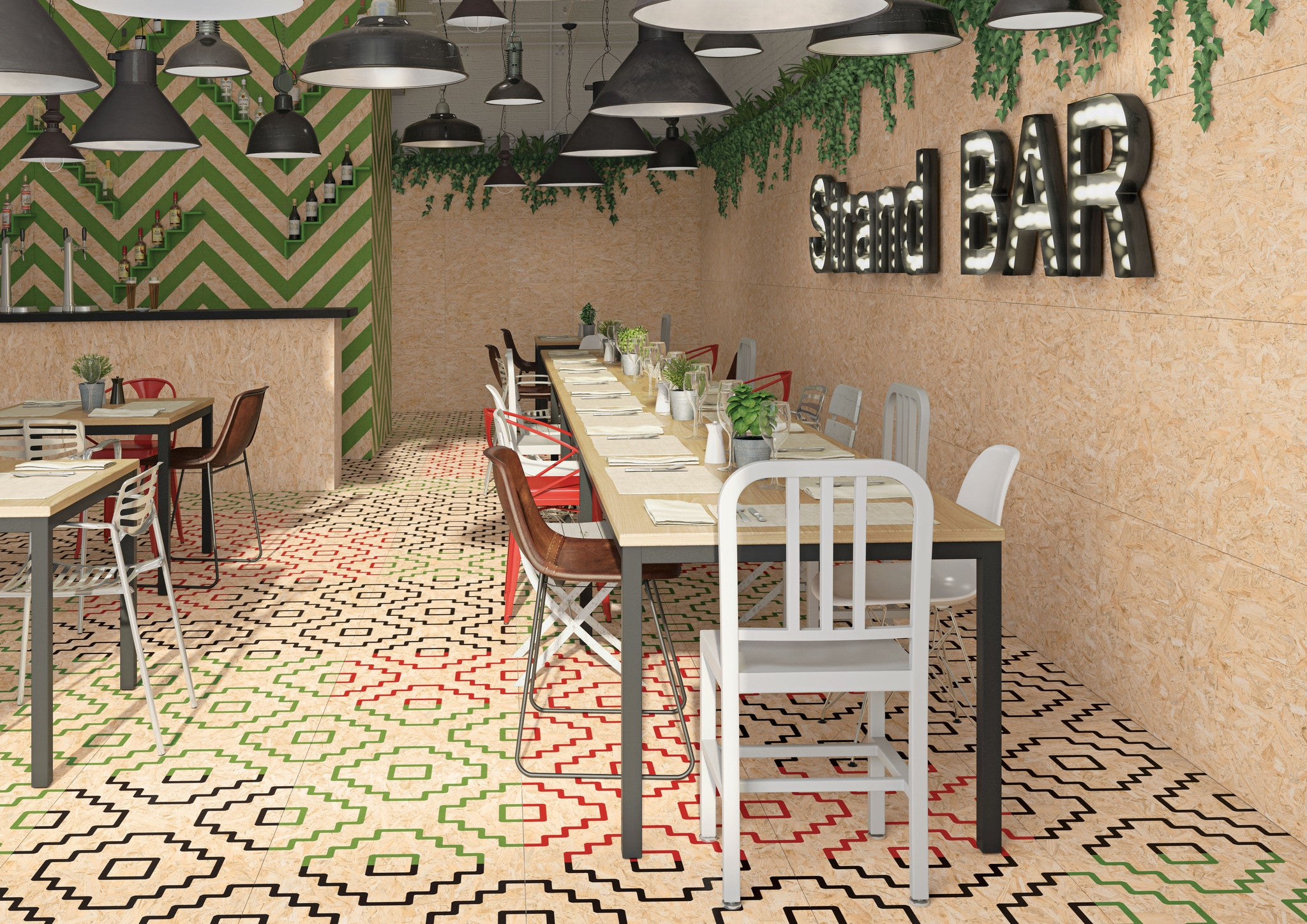 Chipboard Tiles in Cafe