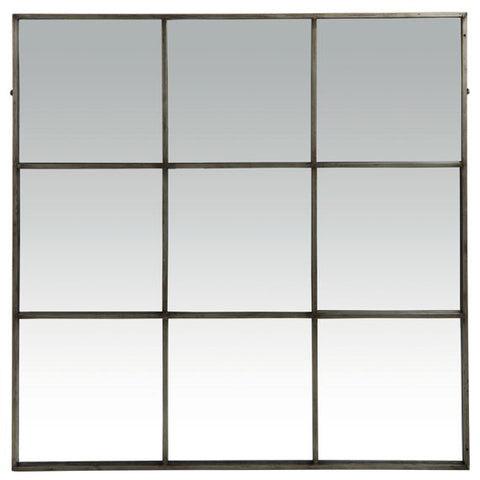 9 Panel Grey Metal Mirror