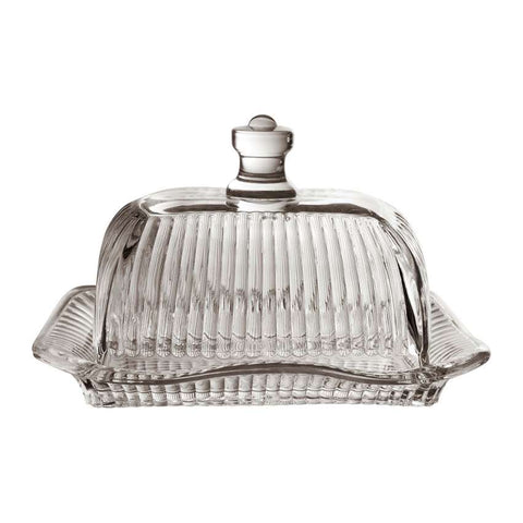 Reeded Glass Butter Dish