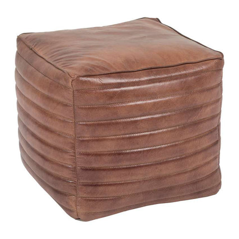 Square Brown Leather Ottoman