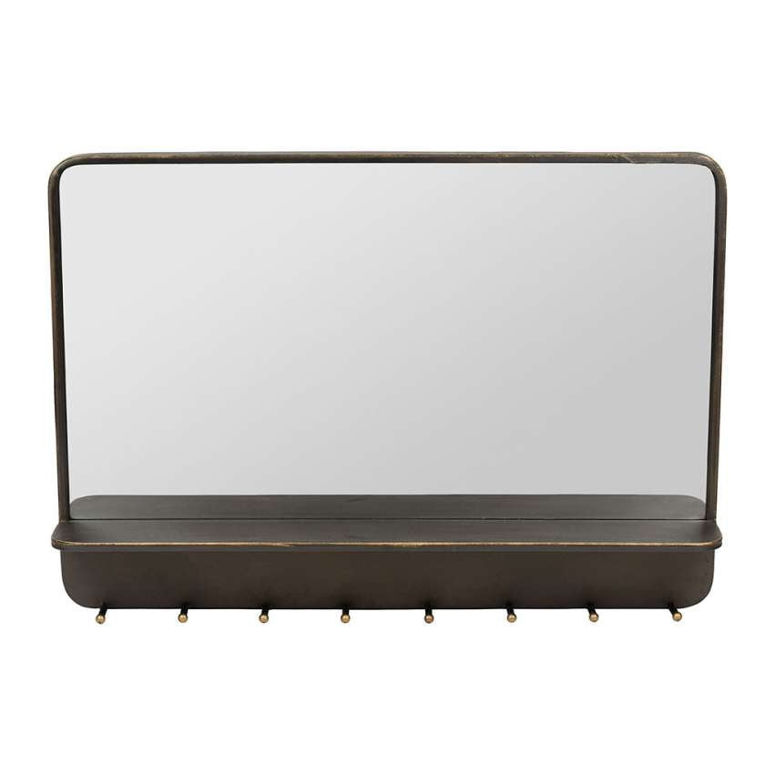 Iron Frame Mirror with Shelf & Hooks