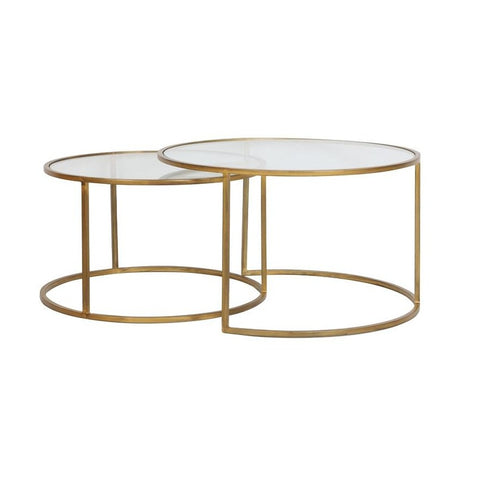 Glass and Gold Coffee Table Nest