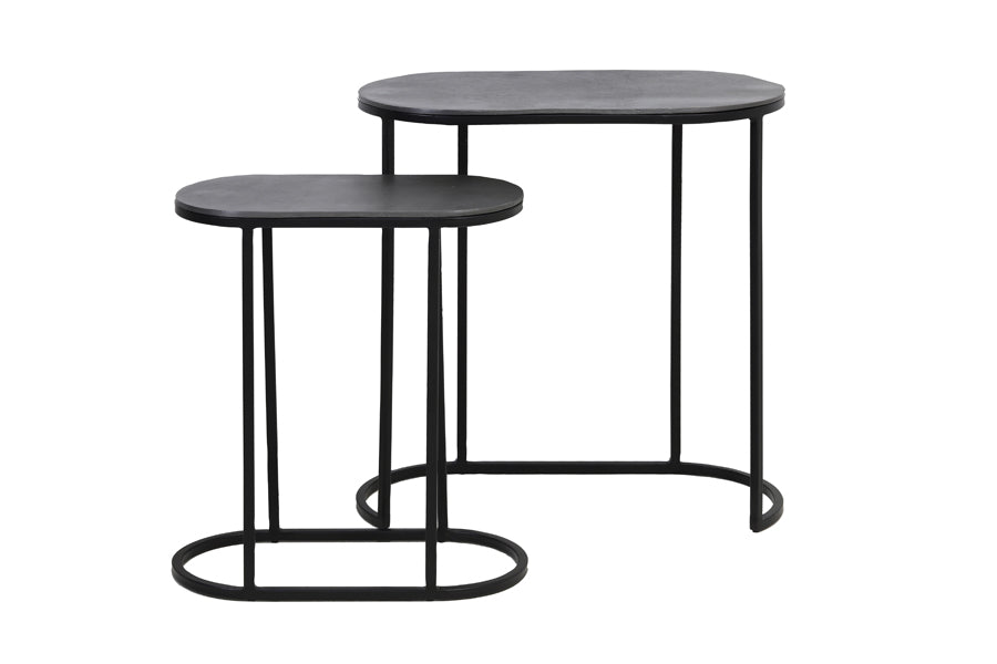 Oval Nest of Side Tables -Lead