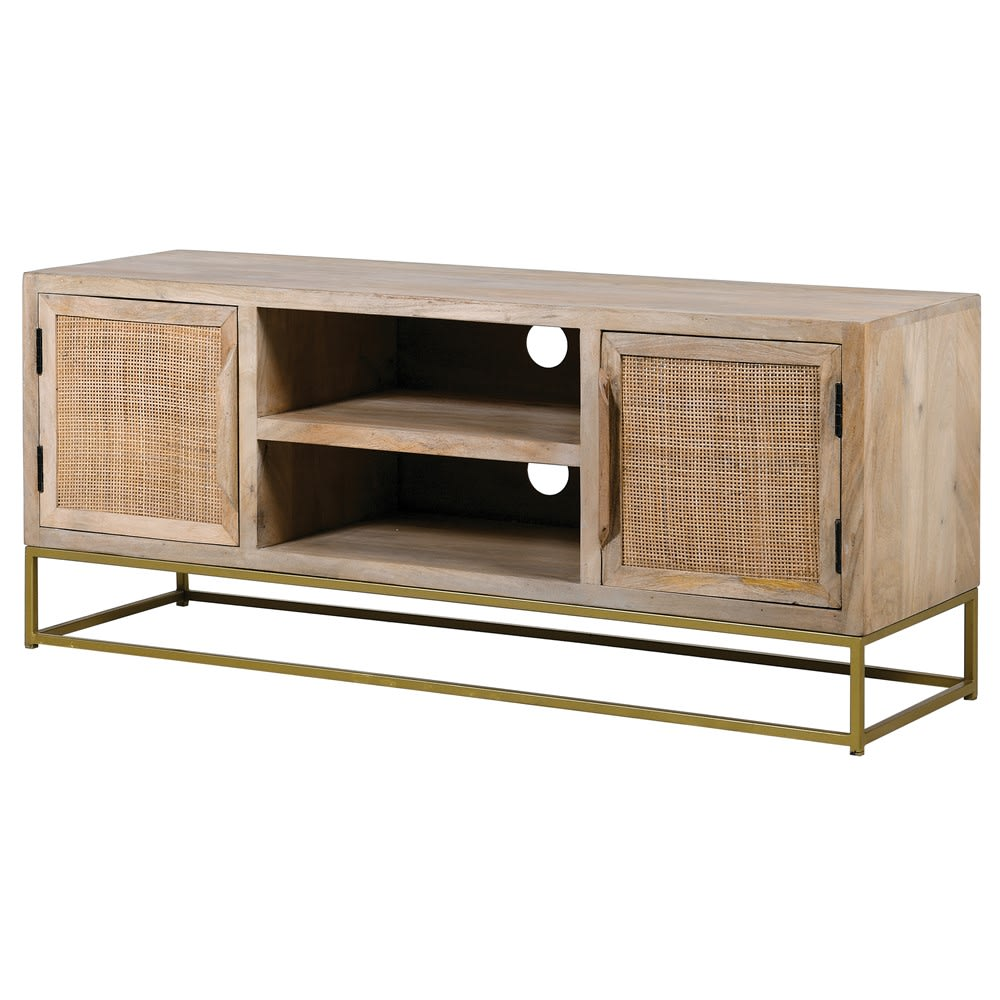 Canned Washed Wood Tv Unit