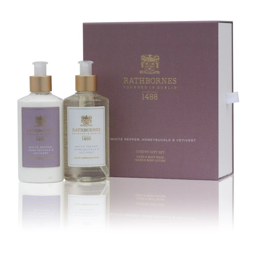 Rathbornes Bath & Body Gift Set-White Pepper, Honeysuckle & Vetivert